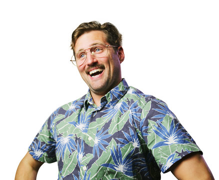 funny retro man with mustache and glasses wide smile