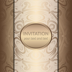 Vector Invitation card with golden ornaments