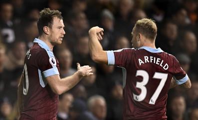 Burnley's Ashley Barnes celebrates scoring their first goal with Scott Arfield