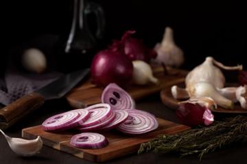 Onion and garlic. Seasonal, organic and healthy food concept. Traditional culinary