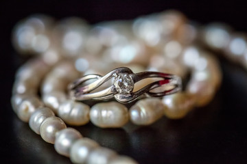 Wedding jewelry on a table