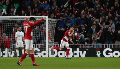 Middlesbrough's Alvaro Negredo celebrates scoring their first goal