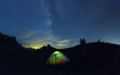 Hiking Backcountry Landscape Mountains Sky Stars Galaxy Camping