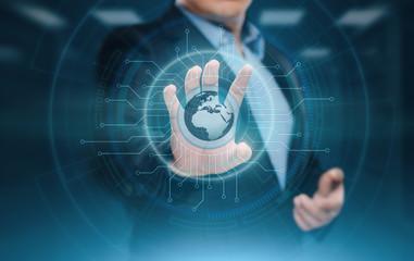 Digital Global Network. Business Internet Technology Concept. Businessman presses touch screen