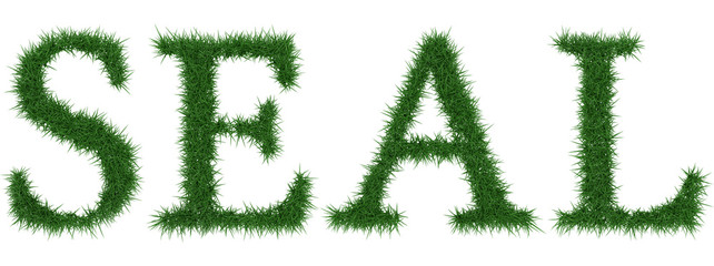 Seal - 3D rendering fresh Grass letters isolated on whhite background.