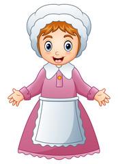 Cartoon pilgrim woman