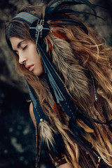 Keuken foto achterwand People close up portrait of beautiful tribal woman dancer in headdress