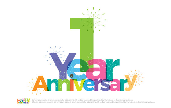 1 year anniversary celebration colorful logo with fireworks on white background. 1st anniversary logotype template design for banner, poster, card vector illustrator