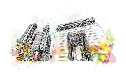 Watercolor sketch of Building view, Dubai, UAE in vector illustration.