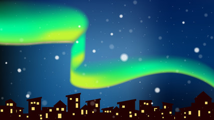 Aurora dancing above city at night with snowfall