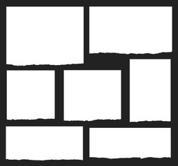 Torn paper vector shapes on a black background