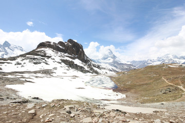 Beautiful mountain landscape with views of the Matterhorn Switzerland.