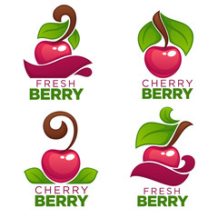 vector collection of juice stickers and cherry berry logo, symbols and emblems