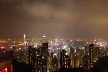 HONG KONG - Feburary 27 th 2016 : Night view from Victoria Peak in Hong Kong