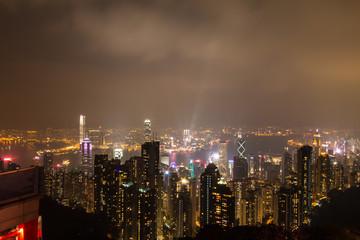 HONG KONG - Feburary 27 th 2016 : Night view from Victoria Peak in Hong Kong