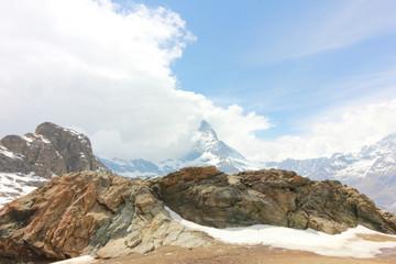 Beautiful mountain landscape with views of the Matterhorn Switzerland.