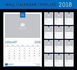 Desk calendar template for 2018 year. Set of 12 months.