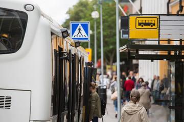 Bus stop in Europe