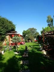 romantischer Garten im Sonnenschein,  / Japan style / Schrebergarten