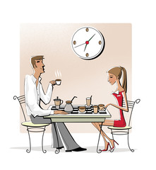Coffee chess, Young woman and man drinking coffee at a chessboard. Business break. Isolated on white background. Raster illustration.