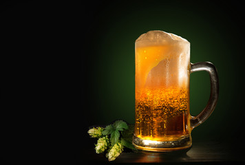A glass of fresh, cold beer