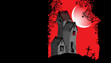 Halloween background with the scary house