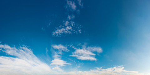 beautiful cloud formation panorama on a blue sky. lovely nature background