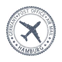 Black stamp with HAMBURG, Germany and aircraft symbol