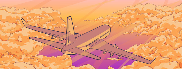 Illustration of airplane flying over clouds in sunset