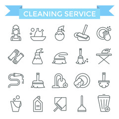 Cleaning service icons, thin line, flat design