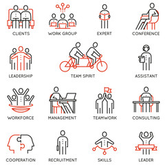 Vector set of linear icons related to collaboration, cooperation, team work and human resource management. Mono line pictograms and infographics design elements