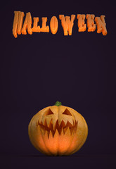 "3D illustration - Vertical poster with ""Halloween"" text and a pumpkin"