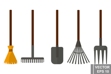 Gardening Tools. Forks, shovel, broom. Job. Cleaning. For your design.