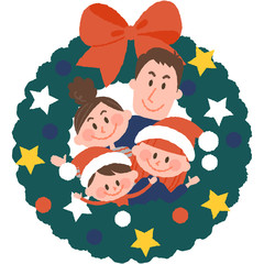 vector illustration of a family with christmas wreath