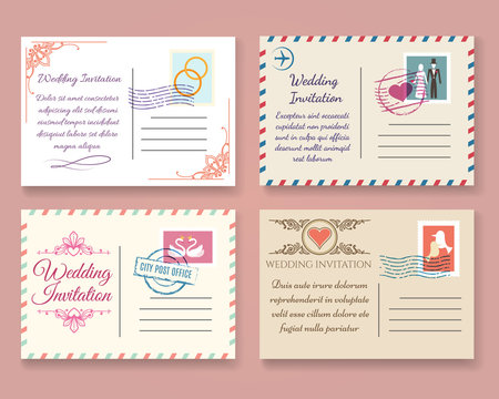 Vintage wedding postcard vector templates. Old vector marriage invitation postale cards for scrapbook or save date letters