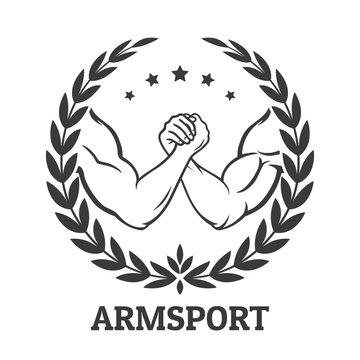 Arm wrestling logo with two men hands, stars and laurel wreath. Vector illustration