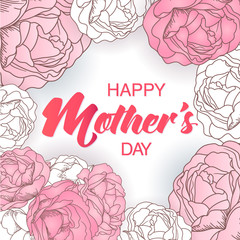 Happy Mother's day card with roses and lettering.