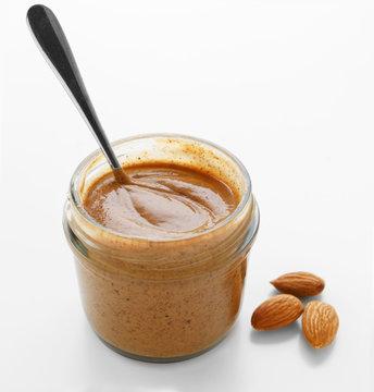 Almond butter in jar