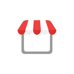 Flat design style vector of shop or store icon with awning on white