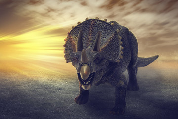 dinosaurs  - Triceratops dinosaurs toy on digital imaging like a real. with dramatic scene.