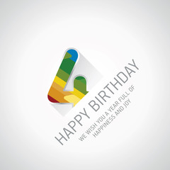 Happy 4th Birthday color design greeting card