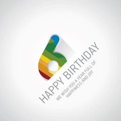 Happy 6th Birthday color design greeting card