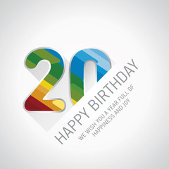 Happy 20th Birthday color design greeting card