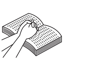 praying with open bible book