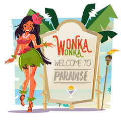 beautiful beach girl with nature present board. tropical show concept - vector