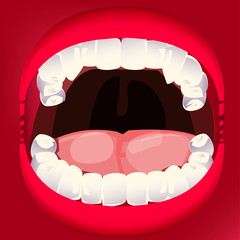 open mouth and teeth with tongue.dental concept - vector illustration