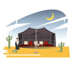 Ramadan Majlis Tents. Arabian tent in dessert with arab men character in the front. nightime. - vector illustration