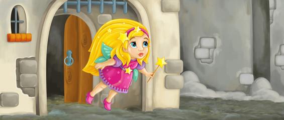 cartoon scene with flying little fairy in front of castle gate - illustration for children
