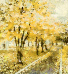 The avenue of dreams in the park, yellow