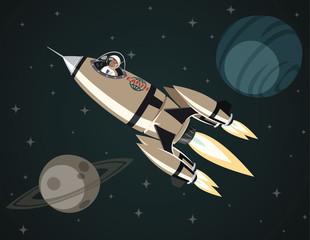 Space rocket in open space